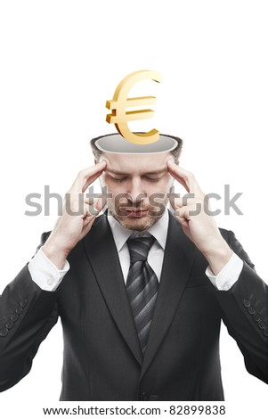 Open minded man with 3d Gold Euro Sign inside thinking about it. Conceptual image of a open minded man. - stock photo
