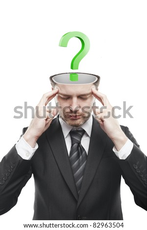 Open minded man with Green question mark inside.Conceptual image of a open minded man.Isolated on a white background - stock photo