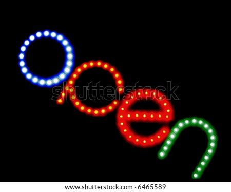 open neon sign - stock photo