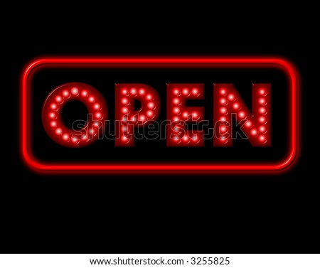 Open Neon Sign with red surround - stock photo