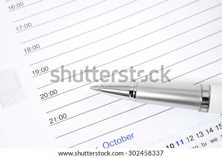 Open notebook and pen for writing - stock photo
