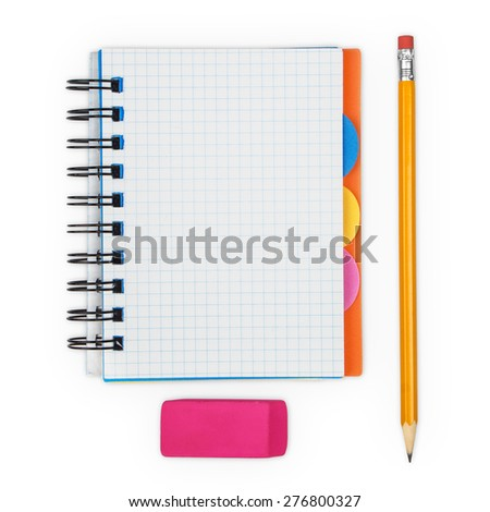 open notebook and pencil with eraser on a white background - stock photo