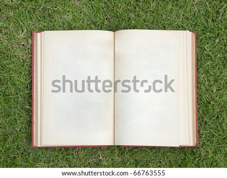 open notebook on green grass - stock photo