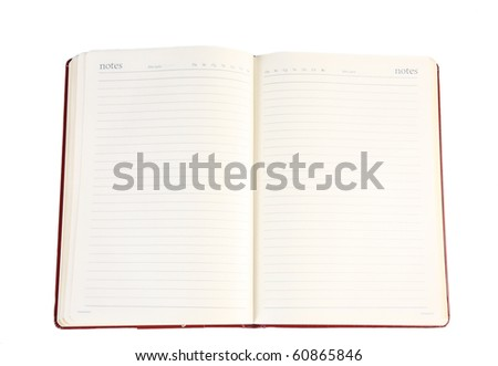 Open notebook with blank leaves - stock photo