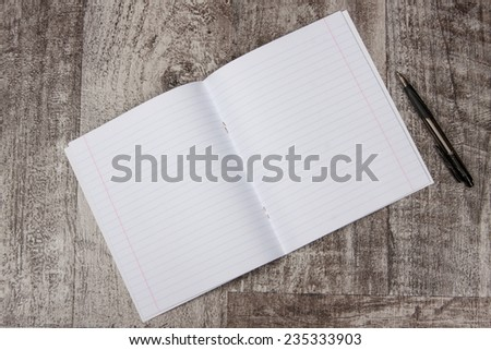 open notebook with blank pages - stock photo