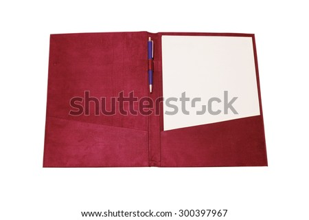Open notebook with Pen isolated on white background (with clipping path) - stock photo