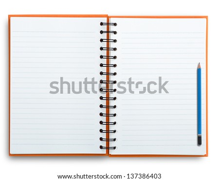 Open notebook with pencil isolated on white, clipping path. - stock photo