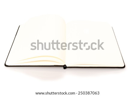 Open notebook with space for your text on white background - stock photo