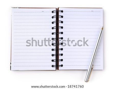 Open notepad with a pen. Isolated on white background - stock photo