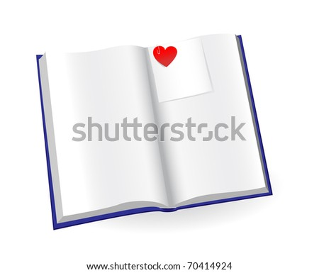 open notepad with sticker and red heart isolated on a white background. JPG-version, illustration - stock photo