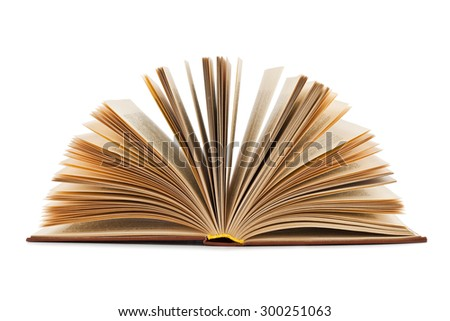 Open old book isolated on a white background - stock photo