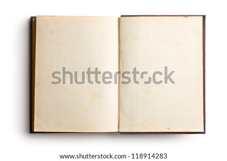 open old book on white background - stock photo