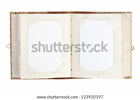 open old photo album with place for your photos isolated on white background - stock photo
