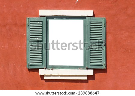 Open Old Window  On Brick Wall - stock photo