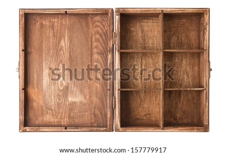 Open old wooden box isolated on white background - stock photo
