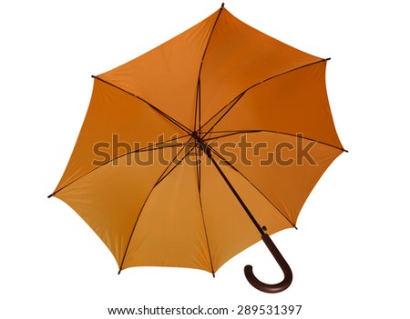Open orange umbrella isolated on white background. Clipping path included. - stock photo