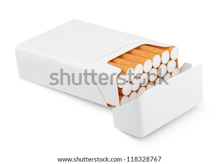 Open pack of cigarettes isolated on white with clipping path - stock photo