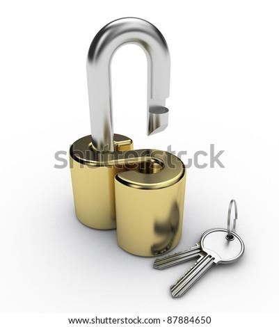 open padlock dollar style and key - stock photo
