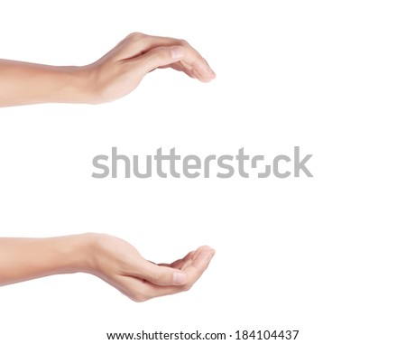 Open palm a hand gesture  - stock photo