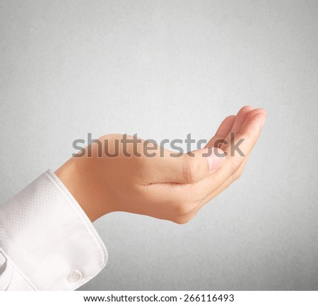 Open palm a hand gesture isolated on white background  - stock photo