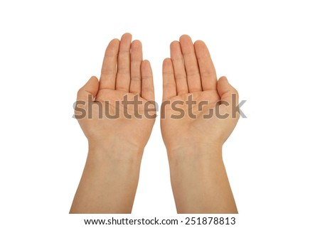 Open palm gesture. isolated on white background, hands. - stock photo