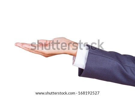 Open palm hand gesture of businessman hand. Isolated on a white background with using path - stock photo