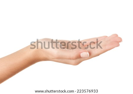 Open palm holding something invisible against pure white background. - stock photo