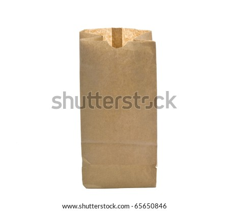 open paper bag. Isolated on a white background - stock photo