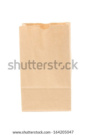 open paper bag isolated on white background - stock photo