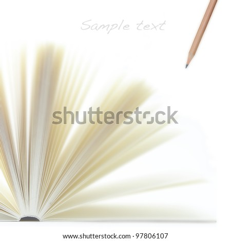 Open paper note with pencil - stock photo