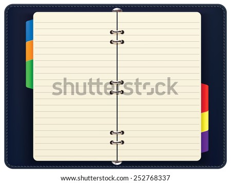 Open personal organizer, isolated. Illustration - stock photo