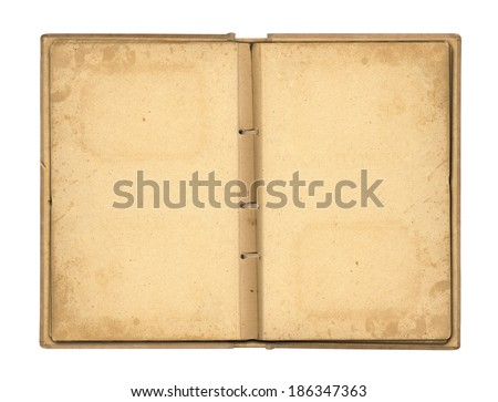 Open photoalbum with ribbon for photos on the isolated white background  - stock photo