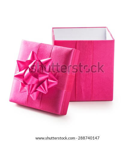 Open pink gift box with ribbon bow. Holiday present. Object isolated on white background. Clipping path - stock photo