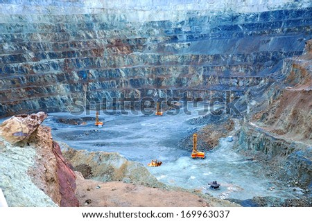 Open pit gold mine in Rosia Montana, Romania - stock photo