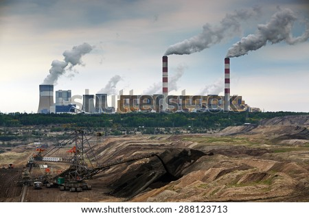 Open pit mine and power plant. HDR - high dynamic range - stock photo