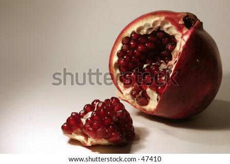 open pomegranite - stock photo
