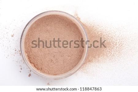 open powder isolated on white - stock photo