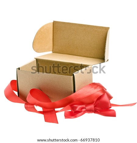 open present box with red ribbon bow isolated on white - stock photo