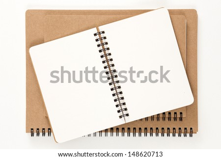 Open recycled ring binder notebook - stock photo