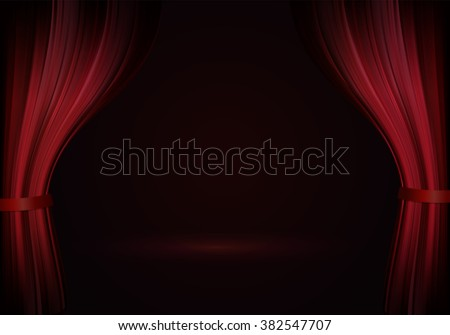 Open red curtain in raster. Theater red scene - stock photo