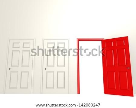 Open red door - stock photo