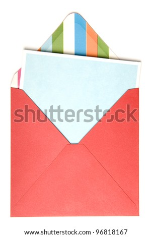 Open red envelope with card inside on white background. - stock photo