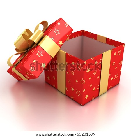 open red gift box with golden ribbon over white background 3d illustration - stock photo