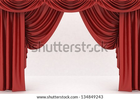 Open red theater curtain, background - stock photo
