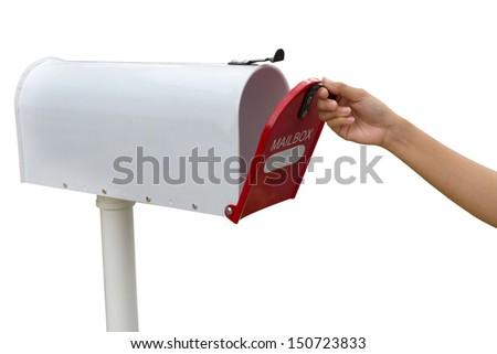 open retro white mailbox - stock photo