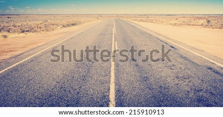Open road ahead, endless road for concept with Instagram style filter - stock photo