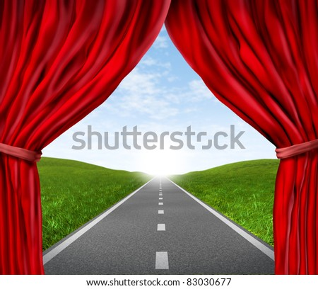 Open road highway and red velvet curtain drapes with green grass and asphalt street representing the concept of journey to a focused destination resulting in success and happiness. - stock photo