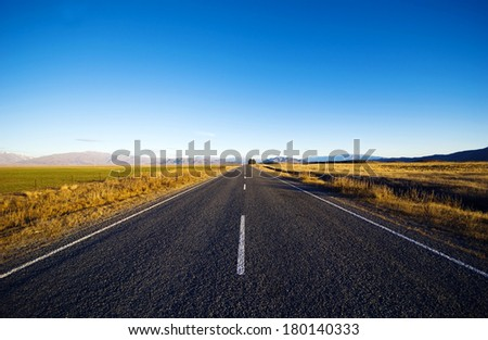 Open Road, New Zealand - stock photo
