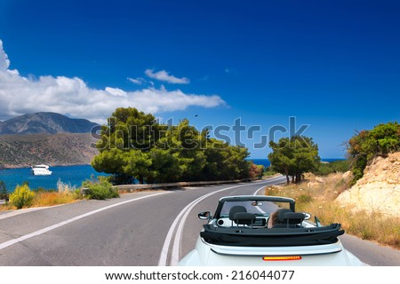 Open road to the sea on the island of Crete. Greece - stock photo