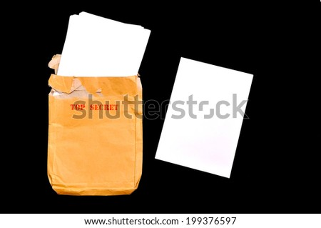 Open rude envelope for document with top secret stamp and documents - stock photo